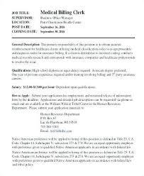 Billing Clerk Job Description Job Description Medical