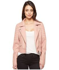 blank nyc women s clothing vegan leather moto jacket in pretty in pink structured seaming for a