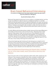 Brain Based Behavioral Interview Guide Using The Myers Briggs Type