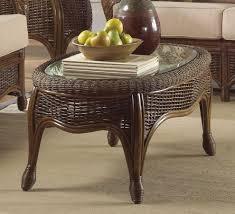 Coffee Table Rattan Round Rattan Coffee Table Glass Top Wicker Wood Furniture