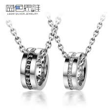blue sweet couple necklaces black white cz diamond circle pendants set sterling silver circle necklace with gemstones inlay matching jewelry for him