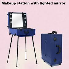 high quality lighting makeup case with portable chair makeup station with lights trolley mirror legs and foldable chair in cosmetic bags cases from