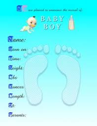 Baby Boy Announcements Templates Printable Birth Announcement Template Business Card Website