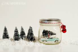 Mason Jar Holiday Decorations Car in Jar Snow Globe 99