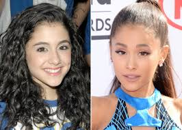 ariana grande in 2008 left and in 2016 right