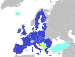 Западная Европа Население стран и столицы Карта стран Описание  Государства члены Европейского союза синий
