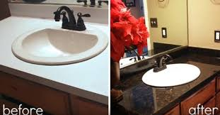 creative ideas how to refinish laminate counter and make it look like granite