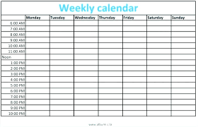Blank Weekly Exercise Schedule Download Them Or Print