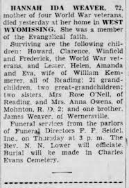 Obituary Hannah Ida Weaver - Newspapers.com