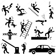 Caution safety danger electricity shock slippery fall car accident icon sign symbol pictogram royalty free stock