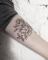 Geometric Peony Tattoo By Dashasumtattoo These Blackwork Tattoos