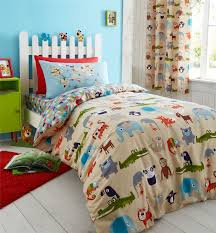 zoo safari animals kids bedding twin or full duvet cover comforter cover set blue