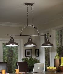 triple bar island or dining table light bronze or silver finish