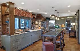 charleston espresso cabinets with cone pendant lights kitchen transitional and sliding barn door counter stools