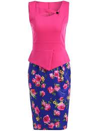 Work Dresses Rose Red L Contrast Color Furcal Rose Print Dress