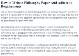 personal philosophy of success essay how to write a good philosophy paper a research guide