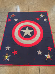 Marvel/Captain America Inspired Applique Quilt – Part II – Rockin ... & Here is the finished Marvel/Captain America Inspired Quilt!! And BTW, my  nephew loved it!! Adamdwight.com