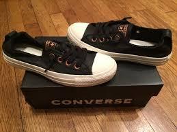 converse women ctas sline slip on genuine leather shoe sneaker black 6 for