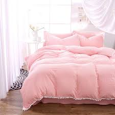 korea style duvet cover set solid color pink washable wrinkle queen bedding sets blanket cover bed linen girl like roupa de cama queen size comforter set