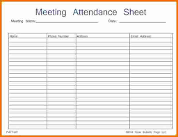 Meeting Attendance List Template Printable Meeting Form Template ...