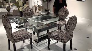 Kitchen Paparazzo Mirrored Dining Table With Zebra Chairs By