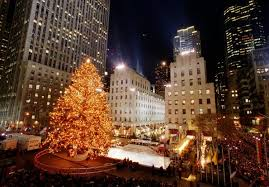 Crowds of people gather during the 1994 Christmas tree lighting at Rockefeller  Center in New York, Dec. 2, 1994.