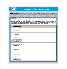 vacation budget planner vacation budget template 9 free word excel pdf document
