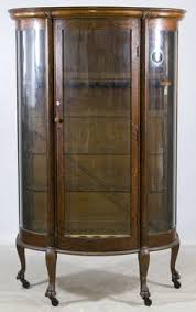 curved glass curio cabinet. Wonderful Cabinet Lot 128 Oak Curved Glass China Cabinet Having Been Converted To Nine  Station Rifle Intended Curio Cabinet S