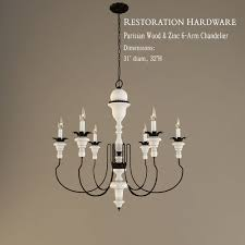 restoration hardware parisian wood and zinc 6 arm chandelier 3d model 3ds