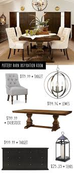 pottery barn style dining table: white tufted chairs round light fixtures and table color ties in perfectly with kitchen pottery barn dining room on a budget