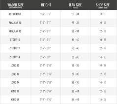 Size Chart Mens Throttle Series Gator Waders