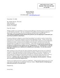 Letter Format For Internship Application Accounting Internship Job Application Letter Templates At