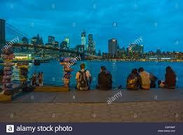 Dumbo Light Festival 2017 New York City Ny Usa Manhattan Skyline At Dusk From