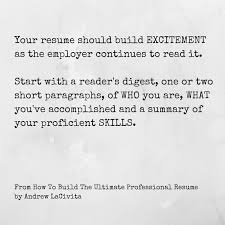 How To Build A Resume Delectable How To Build The Ultimate Professional Resume By Andrew LaCivita
