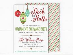 Deck The Halls Christmas Party Invitation Holiday Ornament Exchange Invitation Christmas Dinner Party Invitaton