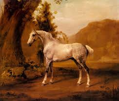 stubbs oil painting a grey stallion in a landscape
