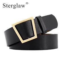 105x3 2cm new irregular geometric tzoidal buckle wide belt women 2018 retro female without buckles leather