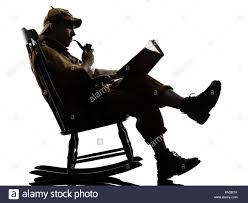 rocking chair silhouette. Sherlock Holmes Reading Silhouette Sitting In Rocking Chair Studio On White Background
