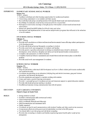 Social Work Resume Skills School Social Worker Resume Samples Velvet Jobs 14