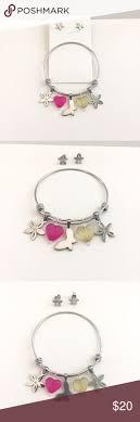 Stainless steel charm bracelet set