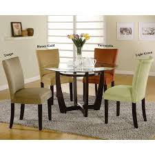mirage round gl top table microfiber parson chairs 5 piece dining set 1 table 2 taupe 2 light green chairs brown size 5 piece sets
