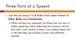 outline every speech will be written in an outline format ppt  three parts of a speech just like an essay it will follow that same format of