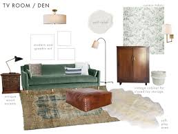 emily henderson ask the aunce english tudor modern traditonal family room play room mood board version 1