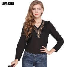 Female Office Shirt Designs Us 11 13 47 Off Livagirl Fashion Chiffon Blouse Women Long Sleeve Elegant Ladies Office Shirts Vintage Copper Sheet Design Female Slim Tops In