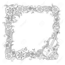 Kleurplaat Grens Vierkant Frame Met Viool Geïsoleerd Op Een Witte