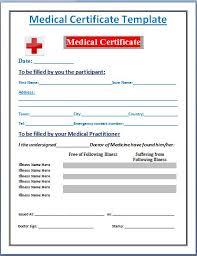 Sample Medical Certificate Template Formal Word Templates