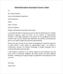 Sample Cover Letter For Administrative Assistant Administrative Assistant Cover Letter 9 Free Samples