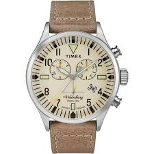 timex men s the waterbury chronograph leather watch