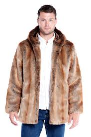 men s coyote hooded faux fur jacket