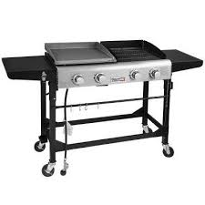 4 burners portable propane gas grill and griddle combo grills in black with side tables